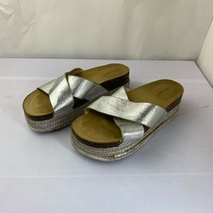 NATURE BREEZE SILVER WEDGE SANDALS